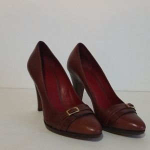 Banana Republic Buckle Toe Brown Leather Pumps